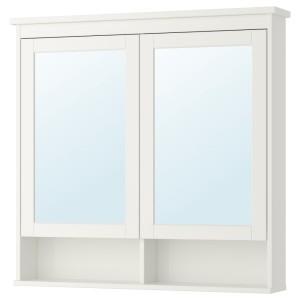 ХЕМНЭС Зеркальный шкаф с 2 дверцами, белый