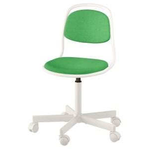 ОРФЬЕЛЛЬ Детский стул д/письменного стола, белый, Висле ярко-зеленый