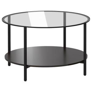 ВИТШЁ Журнальный стол, черно-коричневый, стекло