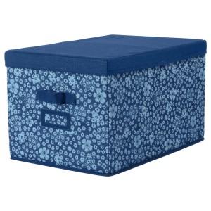 СТОРСТАББЕ Коробка с крышкой, синий, белый