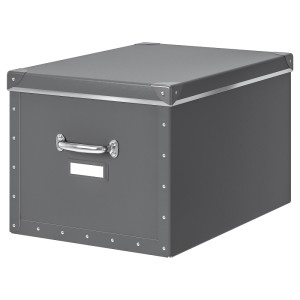ФЬЕЛЛА Коробка с крышкой, темно-серый