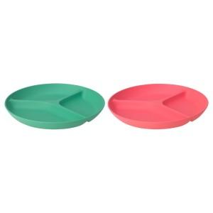 ХЭРОИСК Тарелка с 3 отделениями, светло-красный, зеленый, 2шт