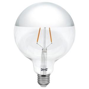 СИЛЛЬБУ Светодиод E27 140 лм, шаровидный, зеркальный верх, серебристый