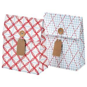 ВИНТЕР 2019 Подарочный пакет, белый, синий с рисунком, 2шт