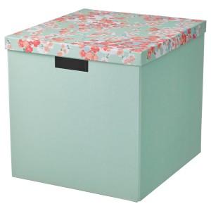 ТЬЕНА Коробка с крышкой, цветок, светло-зеленый
