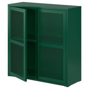 ИВАР Шкаф с дверями, зеленый сетка