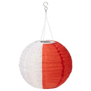 СОЛВИДЕН Подвесная светодиодная лампа, белый оранжевый, для сада шаровидный