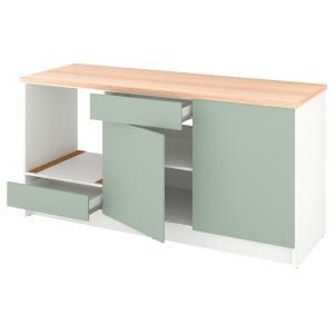 КНОКСХУЛЬТ Напольный шкаф с дверцами и ящиком, серо-зеленый