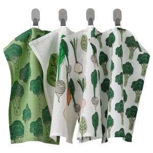 ТОРВФЛЮ Полотенце кухонное, с рисунком, зеленый, 4шт