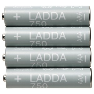 ЛАДДА Аккумуляторная батарейка, HR03 AAA 1,2 В, 4шт