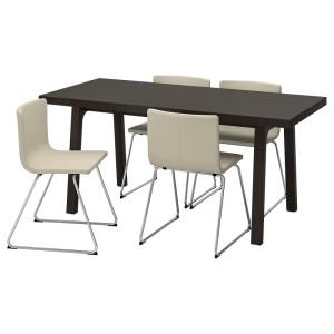 ВЭСТАНБИ/ВЭСТАНО / БЕРНГАРД Стол и 4 стула, темно-коричневый, Кават белый