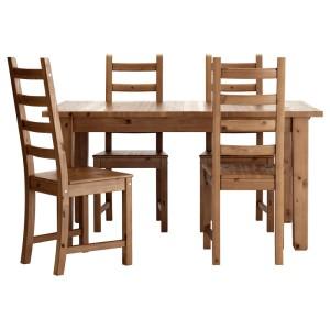 СТУРНЭС / КАУСТБИ Стол и 4 стула, морилка,антик
