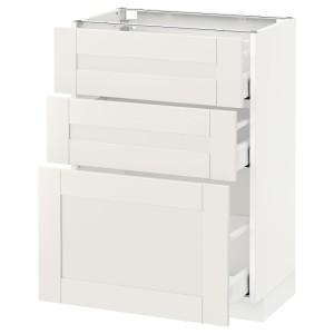 МЕТОД / МАКСИМЕРА Напольный шкаф с 3 ящиками, белый, Сэведаль белый
