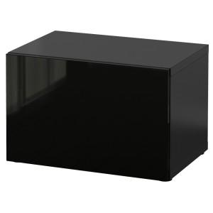 БЕСТО Стеллаж с дверью, черно-коричневый, Сельсвикен глянцевый/черный