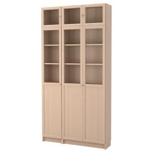 БИЛЛИ / ОКСБЕРГ Стеллаж комбинация/стеклян дверцы, дубовый шпон, беленый, стекло
