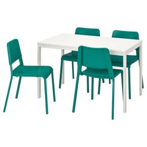 ВАНГСТА / ТЕОДОРЕС Стол и 4 стула, белый, зеленый