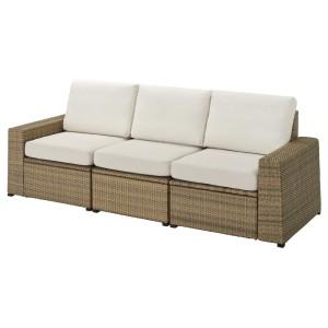 СОЛЛЕРОН 3-местный модульный диван, садовый, коричневый, ФРЁСЁН/ДУВХОЛЬМЕН бежевый