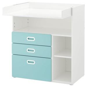 СТУВА / ФРИТИДС Пеленальный стол с ящиками, белый, голубой