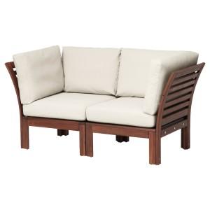 ЭПЛАРО 2-местный модульный диван, садовый, коричневая морилка, ФРЁСЁН/ДУВХОЛЬМЕН бежевый