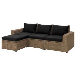 СОЛЛЕРОН 3-местный модульный диван, садовый, коричневый с табуретом для ног коричневый, Холло черный