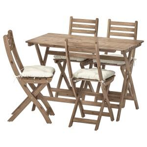 АСКХОЛЬМЕН Стол+4 складных стула, д/сада, серо-коричневая морилка, Куддарна бежевый