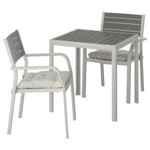 ШЭЛЛАНД Садовый стол и 2 легких кресла, темно-серый, Куддарна серый