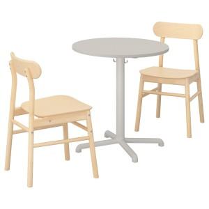 СТЕНСЕЛЕ / РЁННИНГЕ Стол и 2 стула, светло-серый, светло-серый береза
