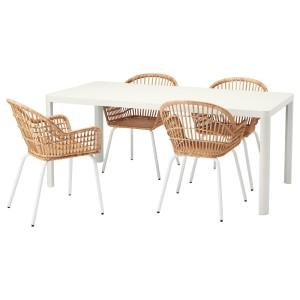 ТИНГБИ / НИЛЬСОВЕ Стол и 4 стула, белый, ротанг белый