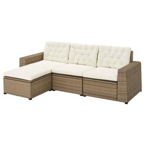 СОЛЛЕРОН 3-местный модульный диван, садовый, с табуретом для ног коричневый, Куддарна бежевый
