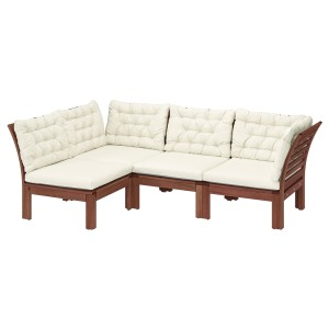 ЭПЛАРО Модульный угл 3-мест диван, садовый, коричневая морилка, Куддарна бежевый