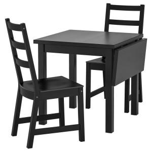 НОРДВИКЕН / НОРДВИКЕН Стол и 2 стула, черный, черный