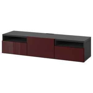 БЕСТО Тумба под ТВ, черно-коричневый Сельсвикен, глянцевый темный красно-коричневый