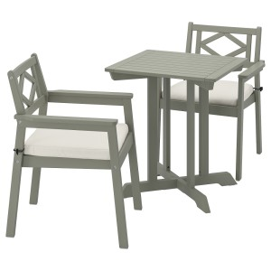 БОНДХОЛЬМЕН Садовый стол и 2 легких кресла, серый морилка, ФРЁСЁН/ДУВХОЛЬМЕН бежевый