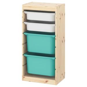ТРУФАСТ Комбинация д/хранения+контейнеры, светлая беленая сосна белый, бирюзовый