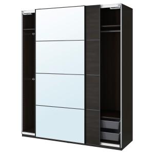 ПАКС / МЕХАМН/АУЛИ Гардероб, комбинация, черно-коричневый, зеркальное стекло