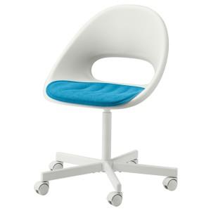 ЛОБЕРГЕТ / БЛИСКЭР Рабочее кресло c подушкой, белый, синий