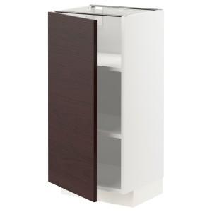 МЕТОД Напольный шкаф с полками, белый Аскерсунд, темно-коричневый под ясень