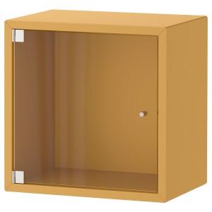 ЭКЕТ Навесной шкаф со стеклянной дверью, золотисто-коричневый