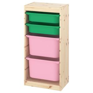 ТРУФАСТ Комбинация д/хранения+контейнеры, светлая беленая сосна зеленый, розовый