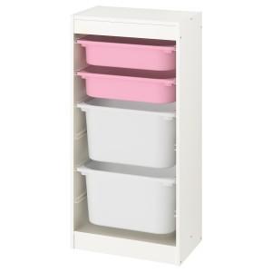 ТРУФАСТ Комбинация д/хранения+контейнеры, белый, розовый белый
