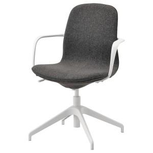 ЛОНГФЬЕЛЛЬ Рабочий стул с подлокотниками, Гуннаред темно-серый, белый