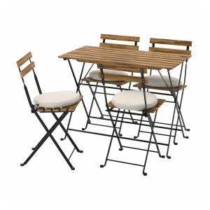 ТЭРНО Стол+4 стула, д/сада, черный/светло-коричневая морилка, ФРЁСЁН/ДУВХОЛЬМЕН бежевый