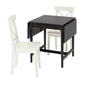ИНГАТОРП / ИНГОЛЬФ Стол и 2 стула, черно-коричневый, белый