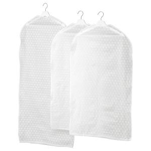 ПЛУРИГ Чехол для одежды, 3 штуки, прозрачный белый