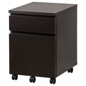 МАЛЬМ Тумба с ящиками на колесах, черно-коричневый