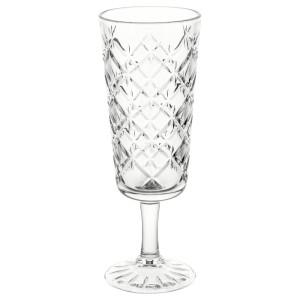 ФЛИМРА Бокал для шампанского, прозрачное стекло, с рисунком