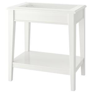 ЛИАТОРП Придиванный столик, белый, стекло