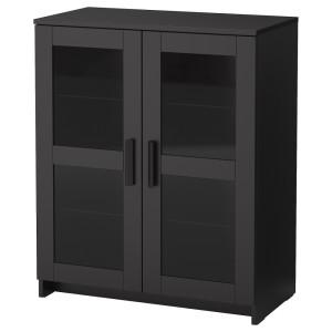 БРИМНЭС Шкаф с дверями, стекло, черный
