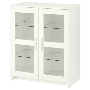 БРИМНЭС Шкаф с дверями, стекло, белый