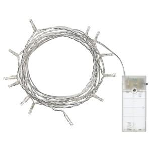 ЛЕДФИР Гирлянда, 12 светодиодов, для помещений, с батарейным питанием серебристый